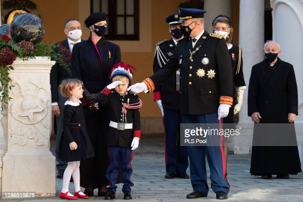 Princess Charlene of Monaco, Princess Gabriella of Monaco, Prince Jacques of Monaco and Prince Albert II of Monaco attend the Monaco National day...