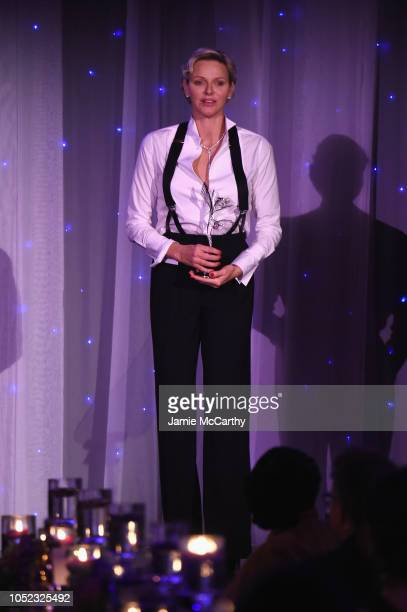 Princess Charlene of Monaco speaks on stage during the 2018 Princess Grace Awards Gala at Cipriani 25 Broadway on October 16 2018 in New York City