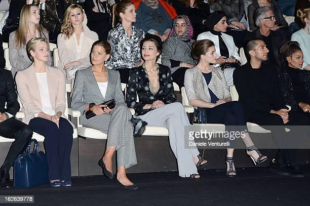 Princess Charlene of Monaco Tatiana Blatnik Margareth Made Solene Hebert Wissam al Mana and Janet Jackson attend the Giorgio Armani fashion show...