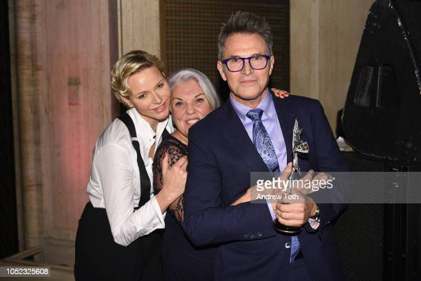 Princess Charlene of Monaco Tyne Daly and honoree Tim Daly celebrate backstage during 2018 Princess Grace Awards Gala at Cipriani 25 Broadway on...