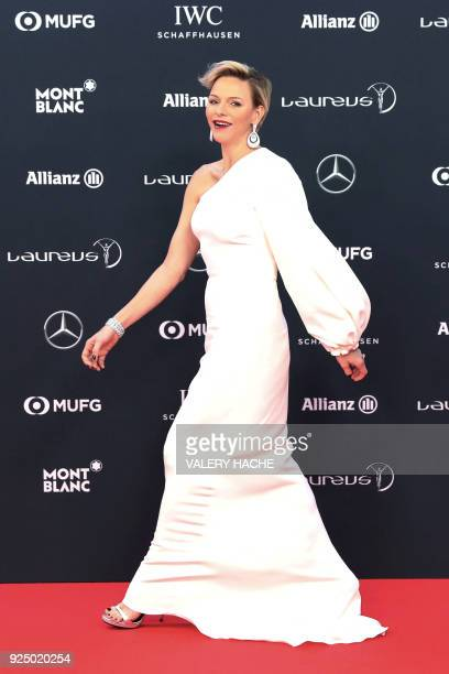 Princess Charlene of Monaco walks on the red carpet before the 2018 Laureus World Sports Awards ceremony at the Sporting MonteCarlo complex in Monaco...