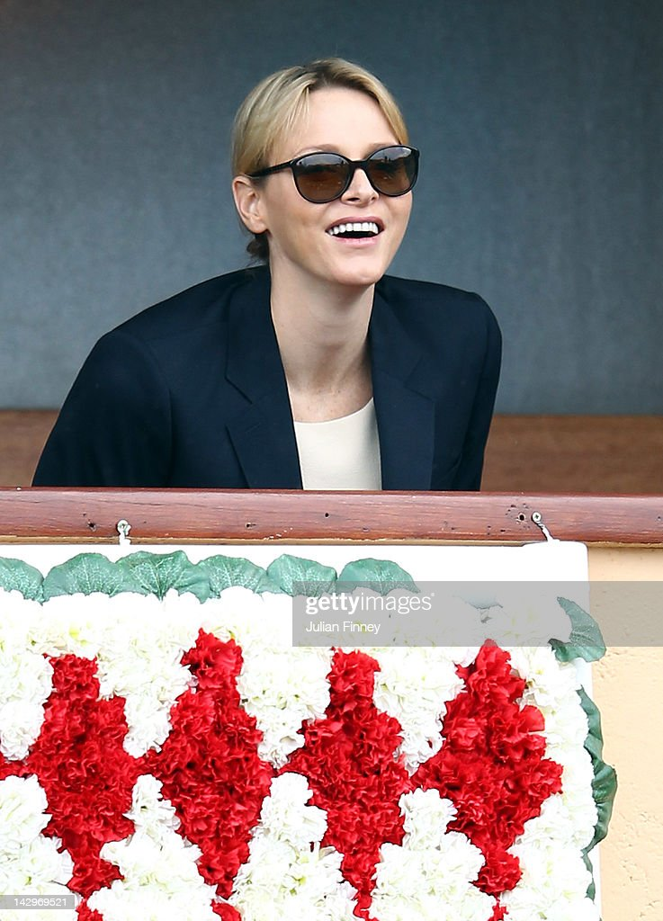 Princess Charlene of Monaco watches during day two of the ATP Monte Carlo Masters on April 16, 2012 in Monte-Carlo, Monaco.