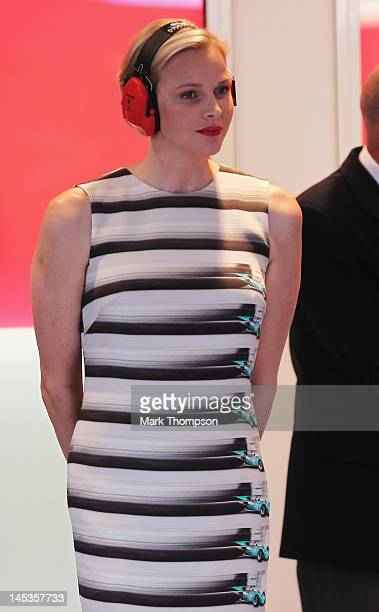 Princess Charlene of Monaco watches from the VIP suite at the finish of the Monaco Formula One Grand Prix at the Circuit de Monaco on May 27 2012 in...