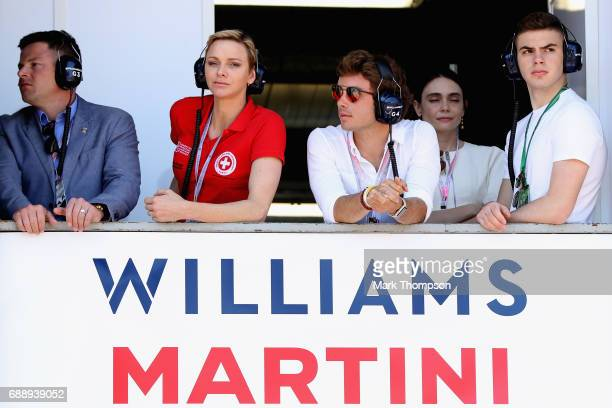 Princess Charlene of Monaco watches the action from the Williams garage during qualifying for the Monaco Formula One Grand Prix at Circuit de Monaco...