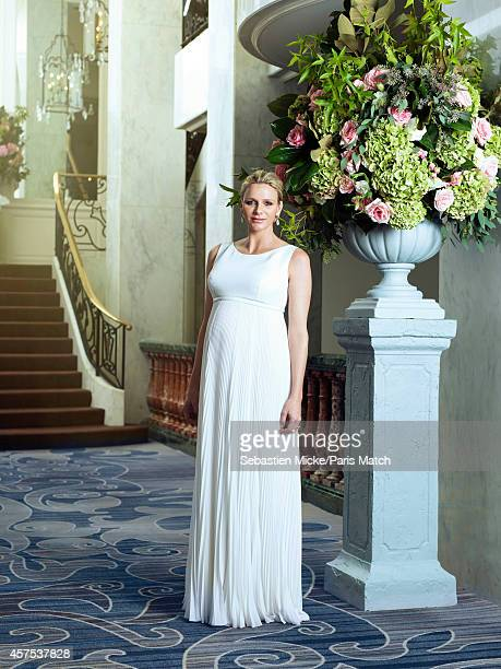 Princess Charlene of Monaco who is six months pregnant are photographed for Paris Match during an evening gala for the Foundation Princess Grace in...