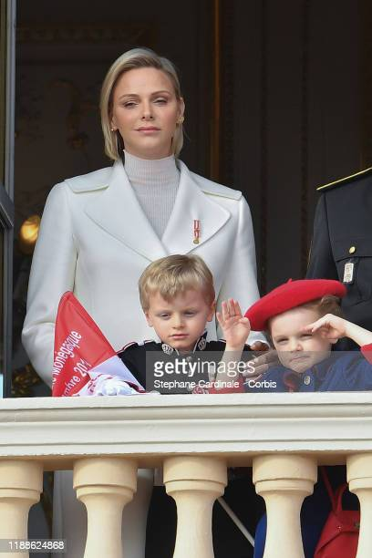 Princess Charlene of Monaco with children Prince Jacques of Monaco and Princess Gabriella of Monaco pose at the Palace balcony during the Monaco...