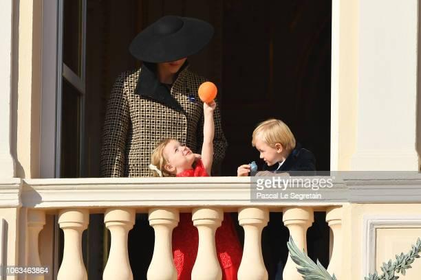 Princess Charlene of Monaco with children Princess Gabriella of Monaco and Prince Jacques of Monaco attend Monaco National Day Celebrations on...