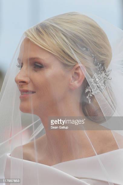 Princess Charlene of Monacoarrives for the religious ceremony of her Royal Wedding to Prince Albert II of Monaco in the main courtyard at Prince's...
