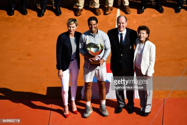 Princess Charlene, Prince Albert of Monaco and Elisabeth Anne de Massy president of Tennis federation of Monaco and Rafael Nadal of Spain during the...