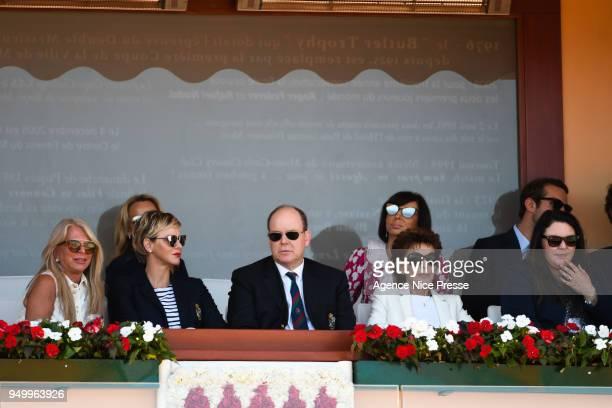 Princess Charlene, Prince Albert of Monaco and Elisabeth Anne de Massy president of Tennis federation of Monaco during the Monte Carlo Rolex Masters...