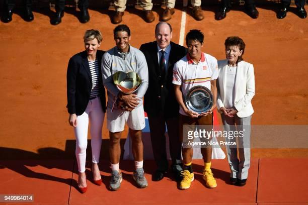 Princess Charlene Prince Albert of Monaco and Elisabeth Anne de Massy president of Tennis federation of Monaco Kei Nishikori of Japan and Rafael...