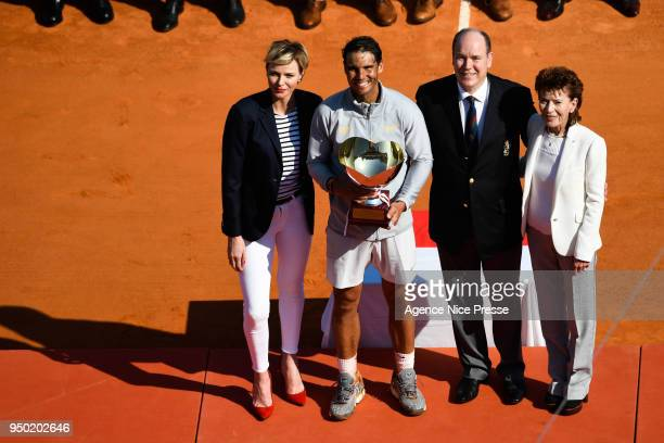 Princess Charlene Prince Albert of Monaco Elisabeth Anne de Massy President of Monaco tennis federation and Rafael Nadal of Spain during the Monte...