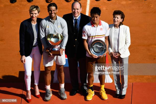 princess Charlene Prince Albert of Monaco Elisabeth Anne de Massy President of Monaco tennis federation Rafael Nadal of Spain and Kei Nishikori of...