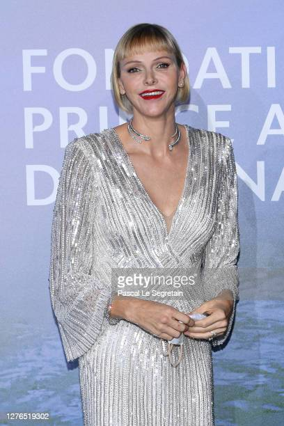 Princess Charlène of Monaco and HSH Prince Albert II of Monaco attend the Monte-Carlo Gala For Planetary Health on September 24, 2020 in Monte-Carlo,...