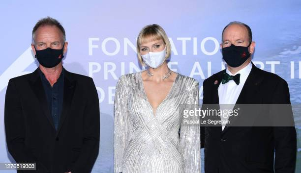 Princess Charlène of Monaco, and HSH Prince Albert II of Monaco attend the Monte-Carlo Gala For Planetary Health on September 24, 2020 in...