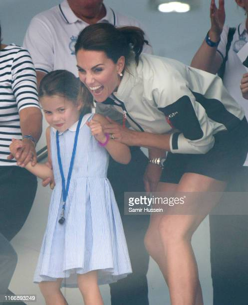 Princess Charlotte and Catherine, Duchess of Cambridge attend the presentation following the King's Cup Regatta on August 08, 2019 in Cowes, England.