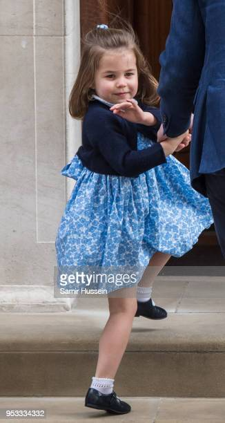 Princess Charlotte arrives at the Lindo Wing after Catherine Duchess of Cambridge gave birth to her son at St Mary's Hospital on April 23 2018 in...