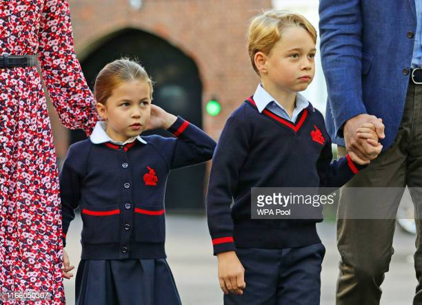 Princess Charlotte arrives for her first day of school at Thomas's Battersea in London, with her brother Prince George and her parents the Duke and...