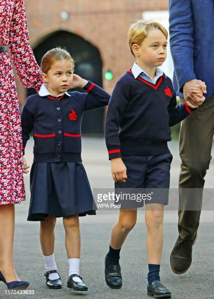Princess Charlotte arrives for her first day of school at Thomas's Battersea in London with her brother Prince George and her parents the Duke and...