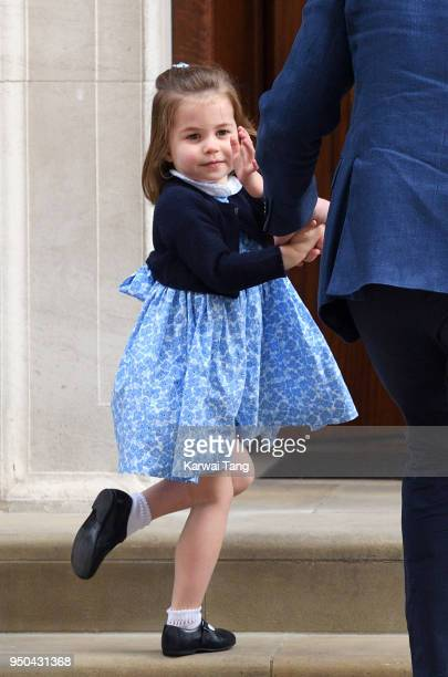 Princess Charlotte arrives with Prince George and Prince William Duke of Cambridge at the Lindo Wing after Catherine Duchess of Cambridge gave birth...