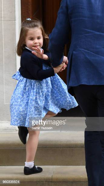 Princess Charlotte arrives with Prince William Duke of Cambridge and Prince George at the Lindo Wing after Catherine Duchess of Cambridge gave birth...