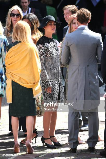 Princess Charlotte Casiraghi and Beatrice Borromeo and Prince Pierre Casiraghi during the wedding of Prince Ernst August of Hanover jr Duke of...