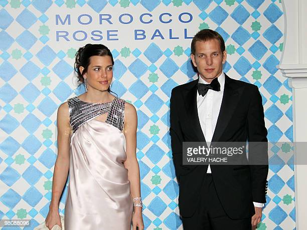 Princess Charlotte Casiraghi niece of Prince Albert II of Monaco and his brother Andrea Casiraghi pose as they arrive for the annual Rose Ball at the...