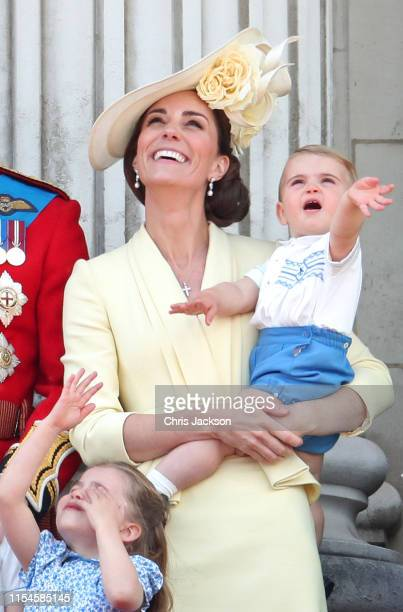Princess Charlotte, Catherine, Duchess of Cambridge and Prince Louis during Trooping The Colour, the Queen's annual birthday parade, on June 08, 2019...