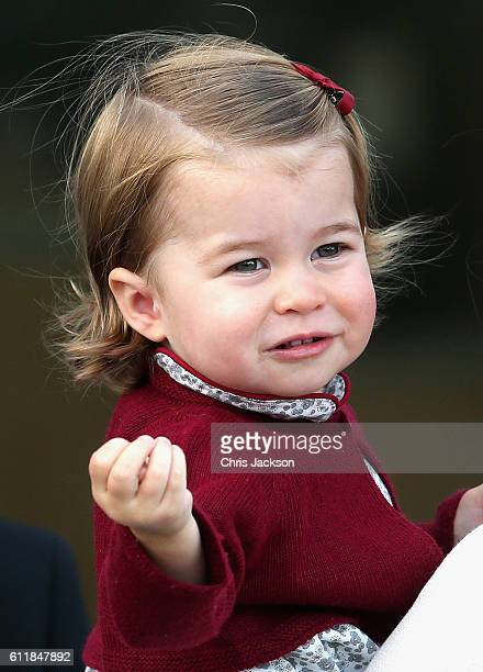 Princess Charlotte leaves from Victoria Harbour to board a sea-plane on the final day of their Royal Tour of Canada on October 1, 2016 in Victoria,...