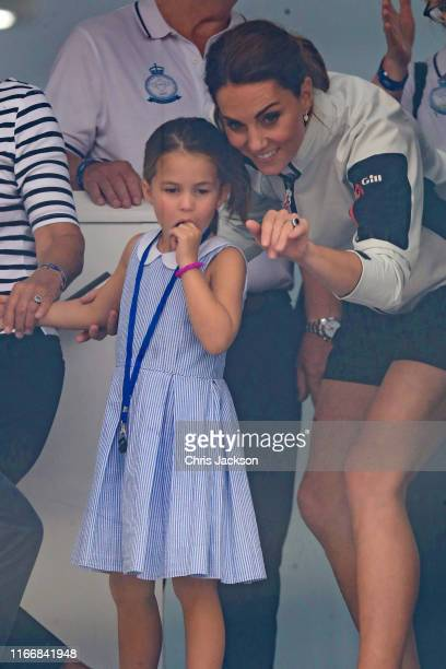 Princess Charlotte of Cambridge and Catherine Duchess of Cambridge having fun together after the inaugural King's Cup regatta hosted by the Duke and...