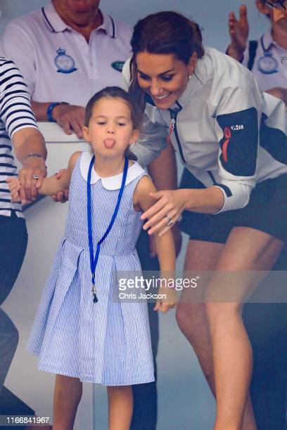 Princess Charlotte of Cambridge and Catherine, Duchess of Cambridge having fun together after the inaugural King's Cup regatta hosted by the Duke and...