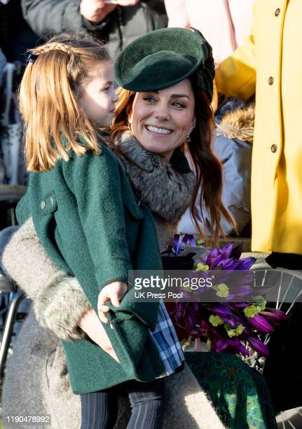 Princess Charlotte of Cambridge and Catherine, Duchess of Cambridge attend the Christmas Day Church service at Church of St Mary Magdalene on the...