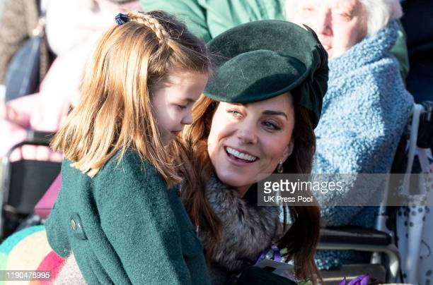 Princess Charlotte of Cambridge and Catherine Duchess of Cambridge attend the Christmas Day Church service at Church of St Mary Magdalene on the...