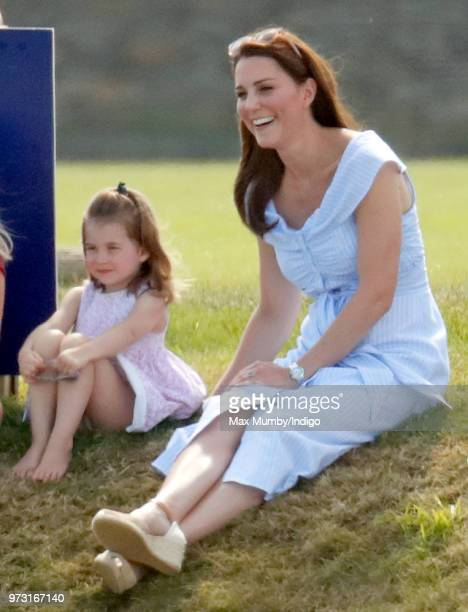 Princess Charlotte of Cambridge and Catherine Duchess of Cambridge attend the Maserati Royal Charity Polo Trophy at the Beaufort Polo Club on June 10...