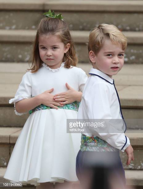 Princess Charlotte of Cambridge and Prince George of Cambridge ahead of the wedding of Princess Eugenie of York and Mr Jack Brooksbank at St George's...