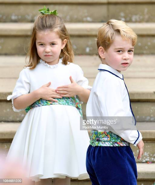 Princess Charlotte of Cambridge and Prince George of Cambridge attend the wedding of Princess Eugenie of York and Jack Brooksbank at St George's...