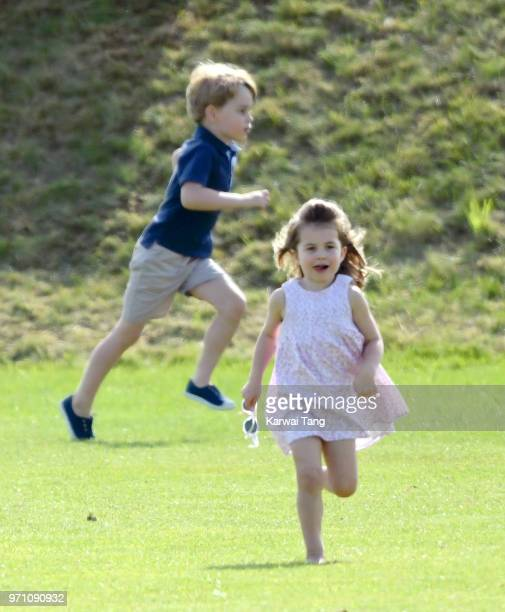 Princess Charlotte of Cambridge and Prince George of Cambridge attend the Maserati Royal Charity Polo Trophy at Beaufort Park on June 10 2018 in...