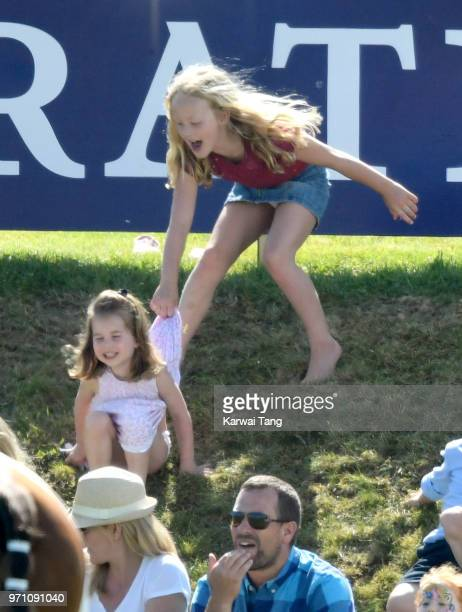 Princess Charlotte of Cambridge and Savannah Phillips attend the Maserati Royal Charity Polo Trophy at Beaufort Park on June 10 2018 in Gloucester...