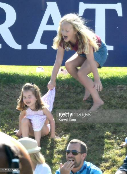 Princess Charlotte of Cambridge and Savannah Phillips attend the Maserati Royal Charity Polo Trophy at Beaufort Park on June 10, 2018 in Gloucester,...
