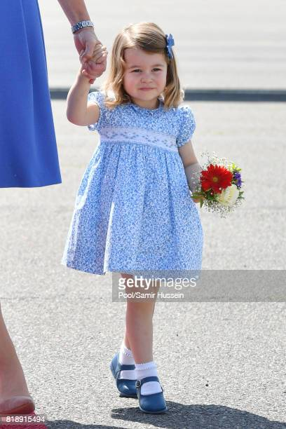 Princess Charlotte of Cambridge arrives at Berlin military airport during an official visit to Poland and Germany on July 19 2017 in Berlin Germany