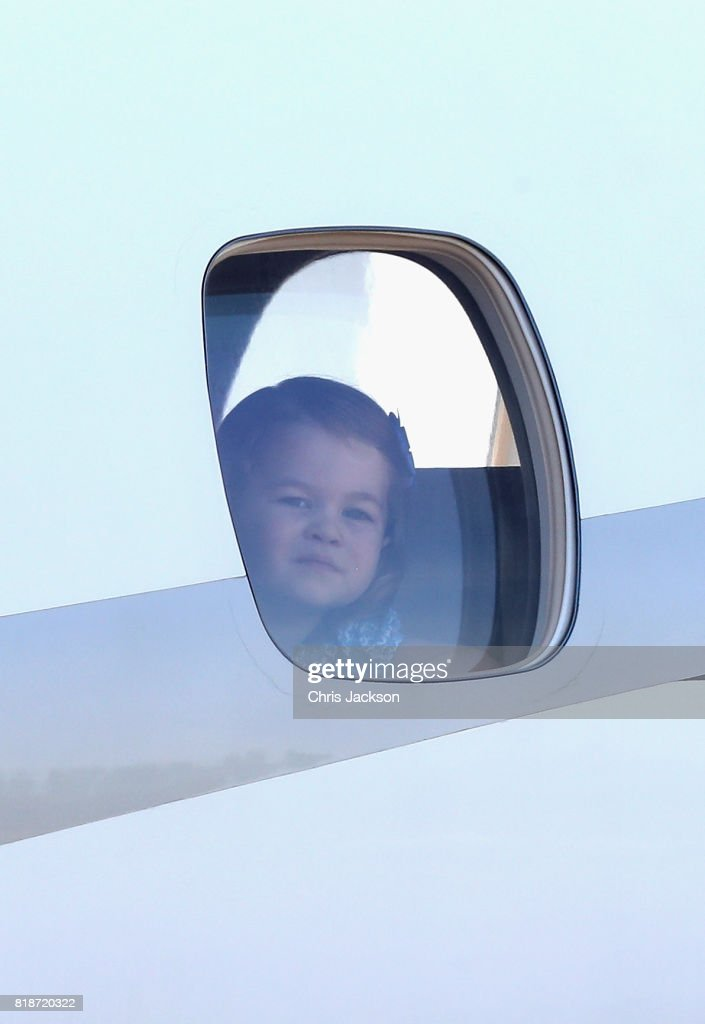 Princess Charlotte of Cambridge arrives at Berlin Tegel Airport during an official visit to Poland and Germany on July 19, 2017 in Berlin, Germany.