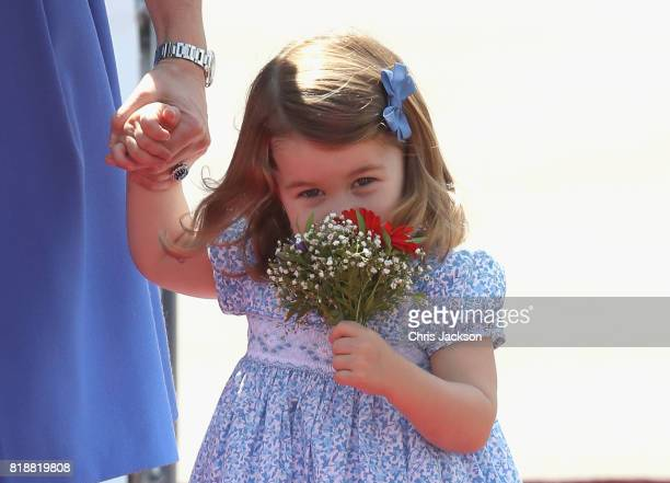 Princess Charlotte of Cambridge arrives at Berlin Tegel Airport during an official visit to Poland and Germany on July 19 2017 in Berlin Germany