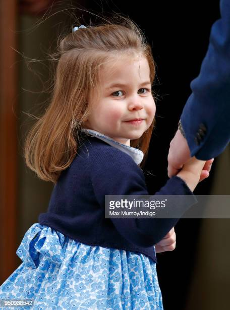 Princess Charlotte of Cambridge arrives with Prince William Duke of Cambridge at the Lindo Wing of St Mary's Hospital to visit her newborn baby...