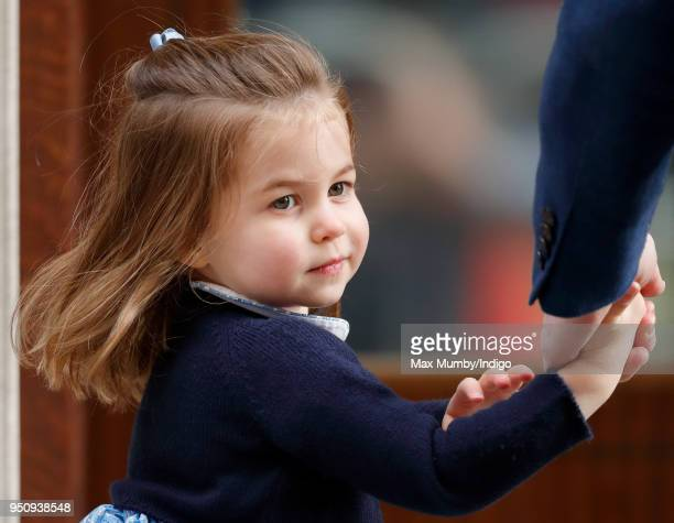 Princess Charlotte of Cambridge arrives with Prince William, Duke of Cambridge at the Lindo Wing of St Mary's Hospital to visit her newborn baby...