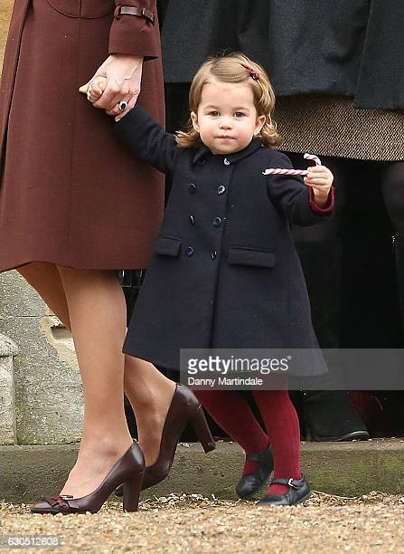 Princess Charlotte of Cambridge attend Church on Christmas Day on December 25 2016 in Bucklebury Berkshire
