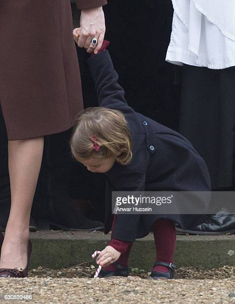 Princess Charlotte of Cambridge attends a Christmas Day service at St Marks Church on December 25 2016 in Englefield England