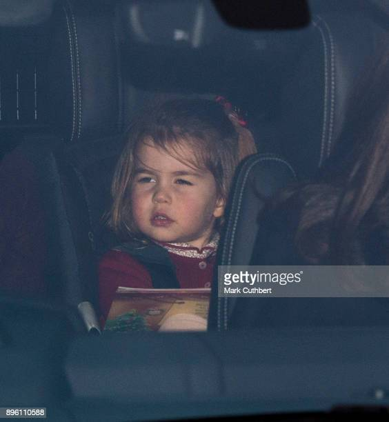 Princess Charlotte of Cambridge attends a Christmas lunch for the extended Royal Family at Buckingham Palace on December 20 2017 in London England