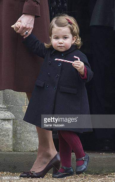Princess Charlotte of Cambridge attends Church on Christmas Day on December 25 2016 in Bucklebury Berkshire