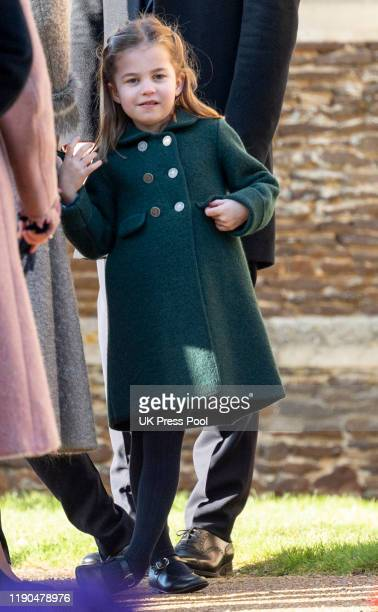 Princess Charlotte of Cambridge attends the Christmas Day Church service at Church of St Mary Magdalene on the Sandringham estate on December 25,...