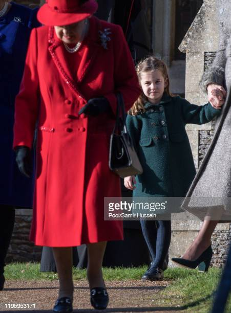 Princess Charlotte of Cambridge attends the Christmas Day Church service at Church of St Mary Magdalene on the Sandringham estate on December 25 2019...